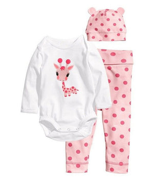 2017 Autumn 3Pcs Long-sleeved Romper+Hat+Pants Baby Clothing Set Cartoon Owl Mice Baby Girls Suit Infant Jumpsuits Costume Wears-eosegal