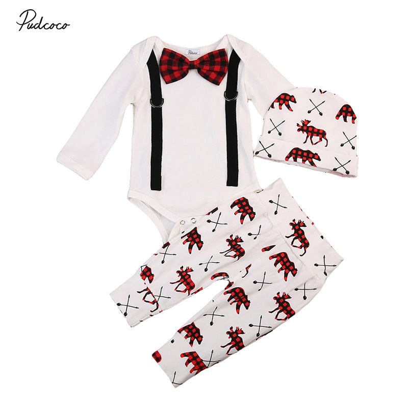 3PCS Set Newborn Baby Boy Clothes Little Gentleman Long Sleeve Bowknot Romper Tops+Deer Pant Trouser Hat Outfits Kids Clothing-eosegal