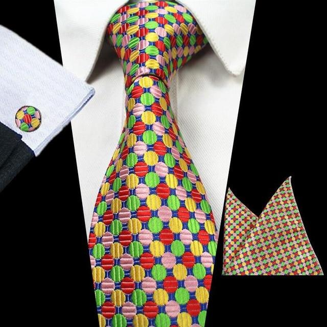 8cm Silk Jacquard Woven Mens Plaid Tie Red Paisley Tie Hankyeosegal-eosegal