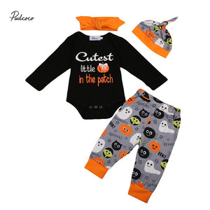Halloween Newborn Clothing Set Infant Baby Boys Girls Long Sleeve Romper+ pumpkin Pants Outfits Clothes-eosegal