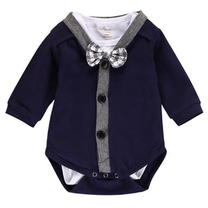 2pcs!!Newborn Baby Boy Clothes Gentleman Bow Cardigans Sweatshirt Coat+Long Sleeve Romper Jumpsuit Outfits Clothes 0-18M-eosegal