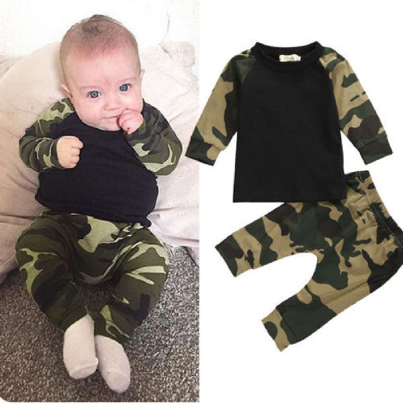 Cute Camouflage Newborn Baby Boys Kids T-shirt Top Long Pants Army Green Baby Boys Clothing Outfit Clothes Set-eosegal