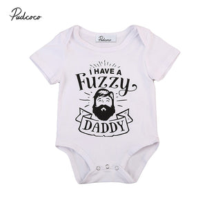 Fuzzy Daddy Newborn Infant Baby Boy Girl Short Sleeve Cotton Romper Causal Toddler Kids Jumpsuit Outfits Clothes 0-24M-eosegal