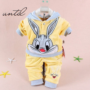 Hot baby clothing set 2015 Spring/Autumn baby's set cartoon rabbit boys girls clothes twinse suits hoodie pant children clothing-eosegal