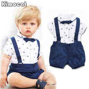 Children's leisure clothing sets kids baby boy suit gentleman clothesT shirt +pants+Bow for weddings formal clothing-eosegal