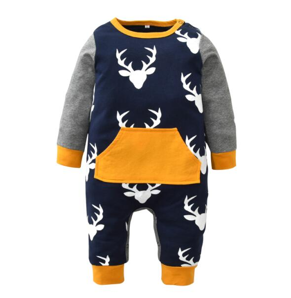 Cute Christmas Baby Boy Clothes Long Sleeve Deer Printed Baby Rompers Newborn Infant Jumpsuit Toddler Kids Clothing-eosegal