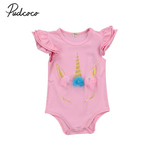 Baby unicorn Bodysuit Clothing New Newborn Baby Boy Girl Ruffles Bodysuits Clothes Infant Cotton Playsuitsuits Cartoon-eosegal