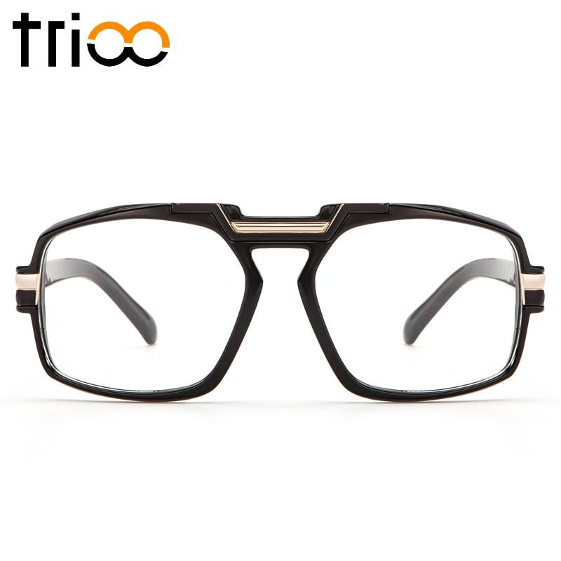 TRIOO Thick Cool Men Eyewear Frames Square Black Computer Glasses Clear Transparenteosegal-eosegal