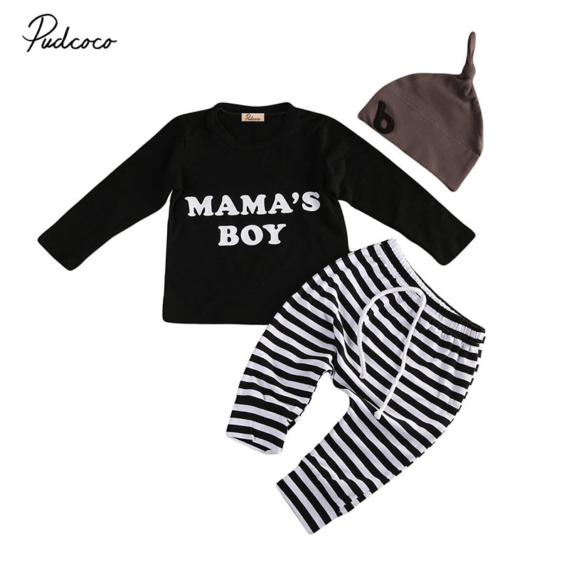 Mama's Boy Newborn Baby Boys Clothes Long Sleeve T-shirt Tops+Striped Pant Trouser Hat Outfits 3PCS Kids Clothing Set 0-24M-eosegal