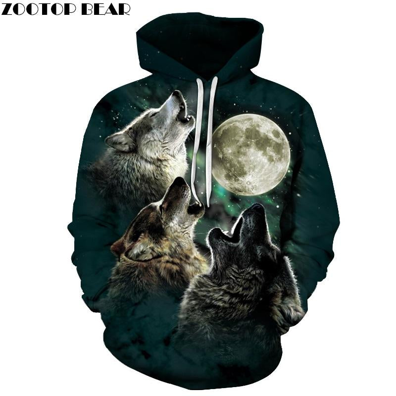 Wolf Pritned Men Women Hoodies 3D Hooded Sweatshirts Autumn Spring Pullover Fashioneosegal-eosegal