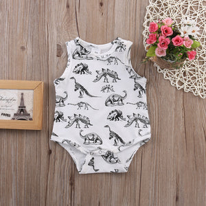 2017 Summer Baby Boy Clothing Cute Cartoon Dinosaurs Baby Rompers Sleeveless Baby Romper White Newborn Bebe Clothes-eosegal