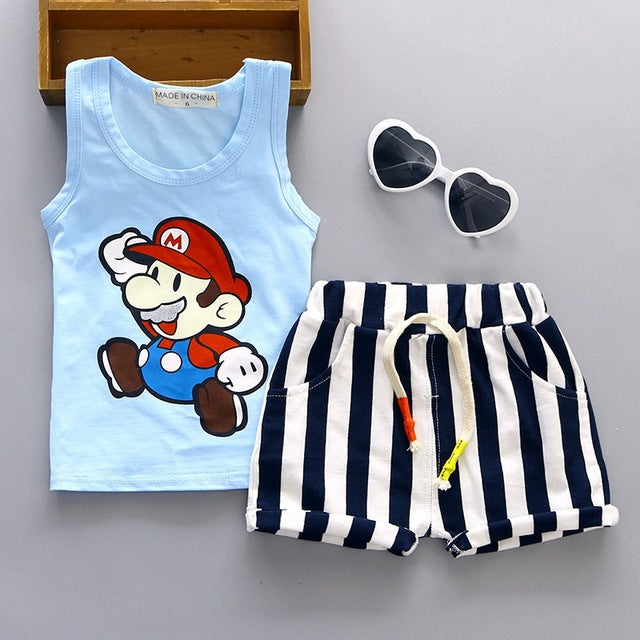 Baby Boy Clothes 2017 New Baby Girl Summer Clothes Cartoon Sleeveless Vest Tops+Shorts Infant Clothing Kids Bebes Jogging Suits-eosegal