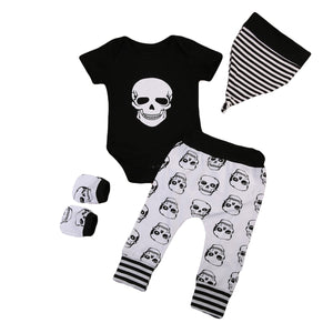 Baby Clothing Newborn Baby Boy Skeleton Romper Jumpsuit +Long Pants +Hat +glove 4pcs Outfits Set-eosegal