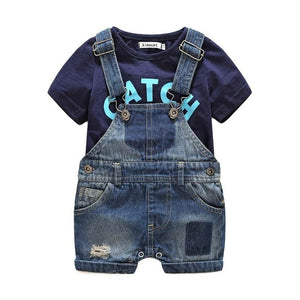Summer short sleeve Baby boy's clothing sets infant Jumpsuit clothes Baby 2pcs Suit Boys t-shirts+denim shorts denim Overall-eosegal