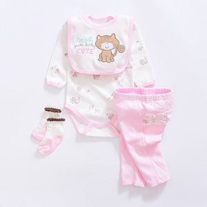 Cute baby girl Clothing Sets cotton Fashion cartoon baby clothes Newborn suits 4pcs long sleeve infant rompers+pants+socks+Bib-eosegal