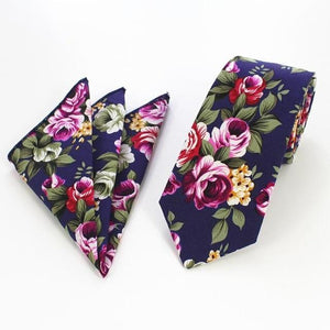 100% Cotton Mens Hanky Tie Sets Floral Print Paisley Necktie andeosegal-eosegal