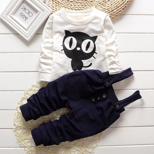 Baby Boy Clothes 2017 Fashion Owl O-neck Long Sleeved T-shirts Tops + Overalls Pants 2pcs Vestido Bebes Kids Christmas Outfit-eosegal