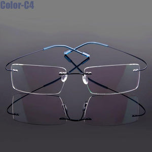 New Arrival 9 colors fashion rimless glasses frame memory Alloy eyeglasses prescriptioneosegal-eosegal