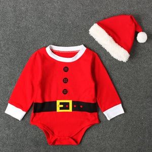 My First Christmas Baby Boys Romper Casual Baby Girls Clothes Newborn Long Sleeve Jumpsuit+Lovely Hat Clothing Sets-eosegal