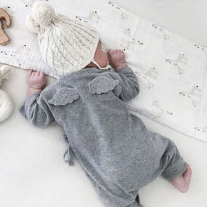 Cute Back Wings Baby Rompers Long Sleeve Gray White Cotton Kids Boy Girls Romper Jumpsuit Infant Baby Autumn Clothes Outfits-eosegal