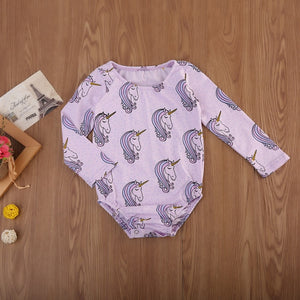 Baby Clothing Newborn Baby Girls Unicorn Flower Romper Long Sleeve Clothes One-pieces Sunsuit Cloting-eosegal