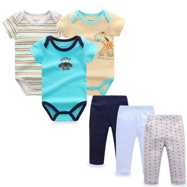 6 pieces/set Newborn Baby Boy Clothes Pants Roupa Infant Short Sleeve Baby Bodysuits Bebes Girls Jumpsuits Baby Clothing Sets-eosegal