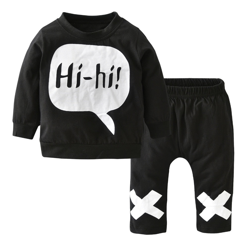 Autumn baby boy clothes cotton baby girl clothing set long sleeve t shirt + pants newborn 2pcs suit infant clothing-eosegal