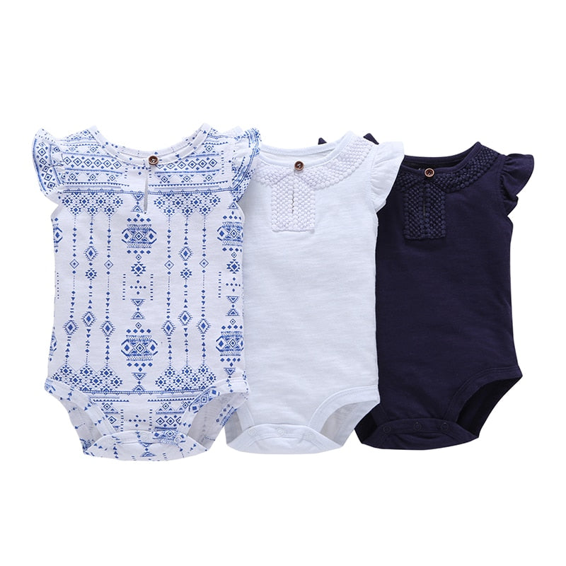 Baby Girls 3 pcs Pack Sleeveless Bodysuit Clothing Set Red White Dark Blue 6 Months to 24 Month Bebes-eosegal