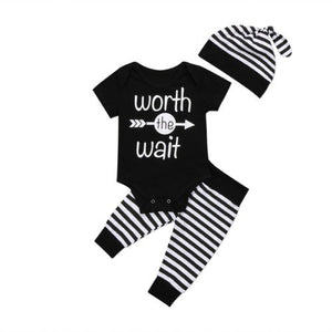 Baby Clothing Newborn Toddler Baby Boys Short Sleeve Letter Romper +Striped Pants Outfits Set Clothes-eosegal