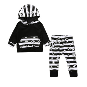 Pudcoco 2017 Halloween Toddler Baby Boys Tops Hoodie Skull Striped Pants Outfits 2Pcs Set Autumn Clothes 0-24M-eosegal