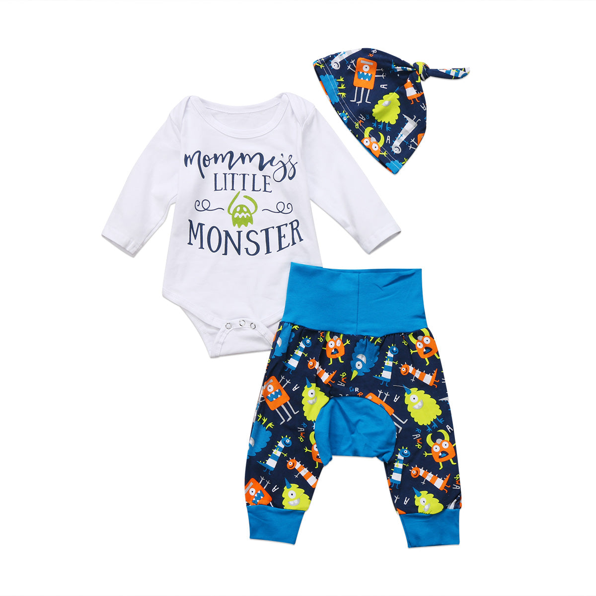 Pudcoco 0-18M Newborn Baby Jumpsuit Monster Bodysuit + Cartoon Blue Pants Hat Outfits Clothes Set 2017-eosegal
