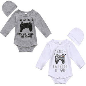 Pudcoco 2017 Infant Kids Baby Boys Girls Player Bodysuit Long Sleeves Jumpsuit Game Clothes Hat Outfit Set 0-18M-eosegal