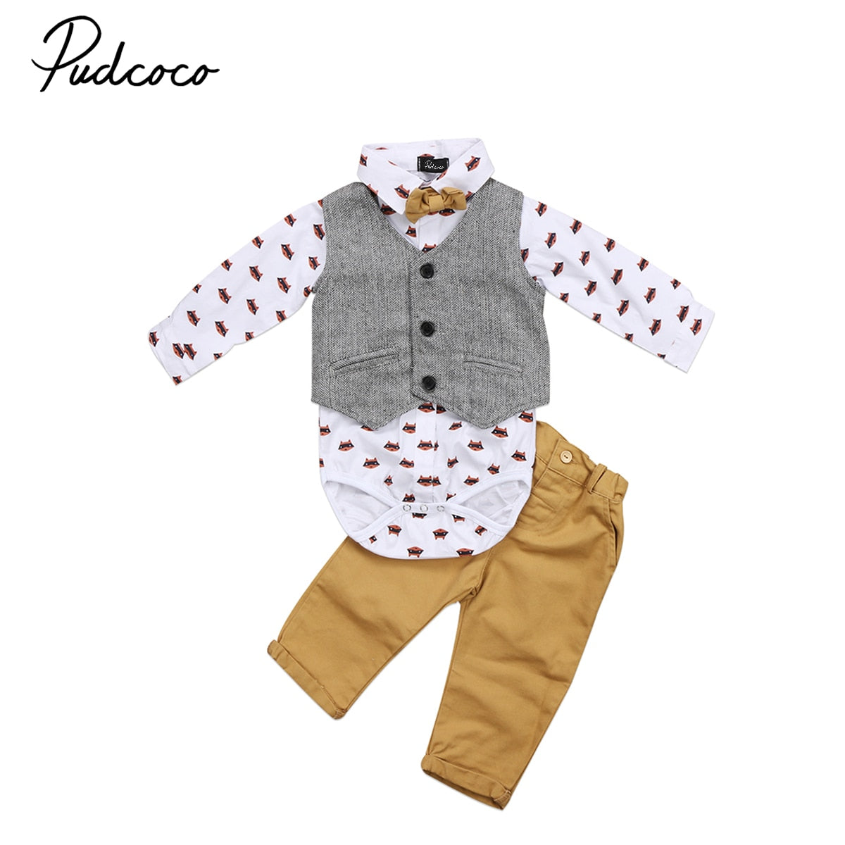 Pudcoco Gentleman Toddler Baby Boys Formal Fox Suit Bowknot Waistcoat Yellow Pants Bowtie Tuxedo Casual Outfits Autumn Set 2017-eosegal