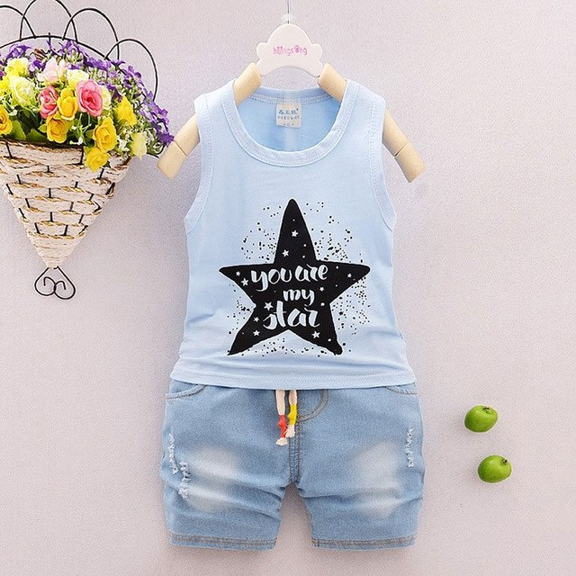 2017 summer boy baby clothing outfit sports suit for infant boys baby's clothes sleeveless brand cotton shorts suit 2pcs sets-eosegal