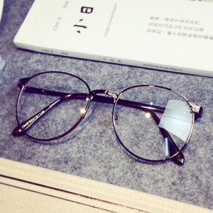 New Retro Round Antique Glasses Frames Male Full Frame Metal Gray Cleareosegal-eosegal