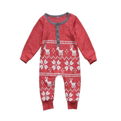 XMAS Snowflake Newborn Baby Girl Top Outfit Clothes Romper Jumpsuit Christmas Baby Clothing-eosegal