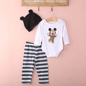 Newborn Kids Baby Boy Girl Infant Romper Bodysuit Hats Pants 3pcs Cartoon Outfit Comfortable Cotton Crawling Coverall Clothing-eosegal