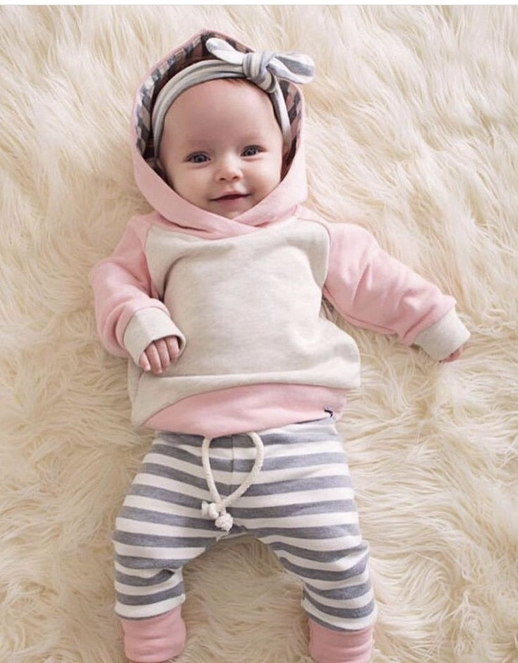 3PCS Newborn Baby Boys Girls Clothes Long Sleeve Hooded Pullover Tops Stripe Pants Infant Baby Boy Clothing Set Toddler Outfits-eosegal