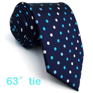 B24 Navy Polka Dots Silk Mens Necktie Set Fashion Classic Ties foreosegal-eosegal