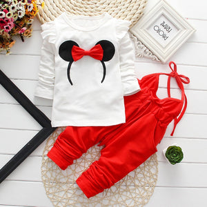Baby Girl Clothes Hot Sell 0-24 Month Brand Cotton Long Sleeve T-shirt Tops + Overalls 2PCS Outfits Kids Bebes Jogging Suits-eosegal