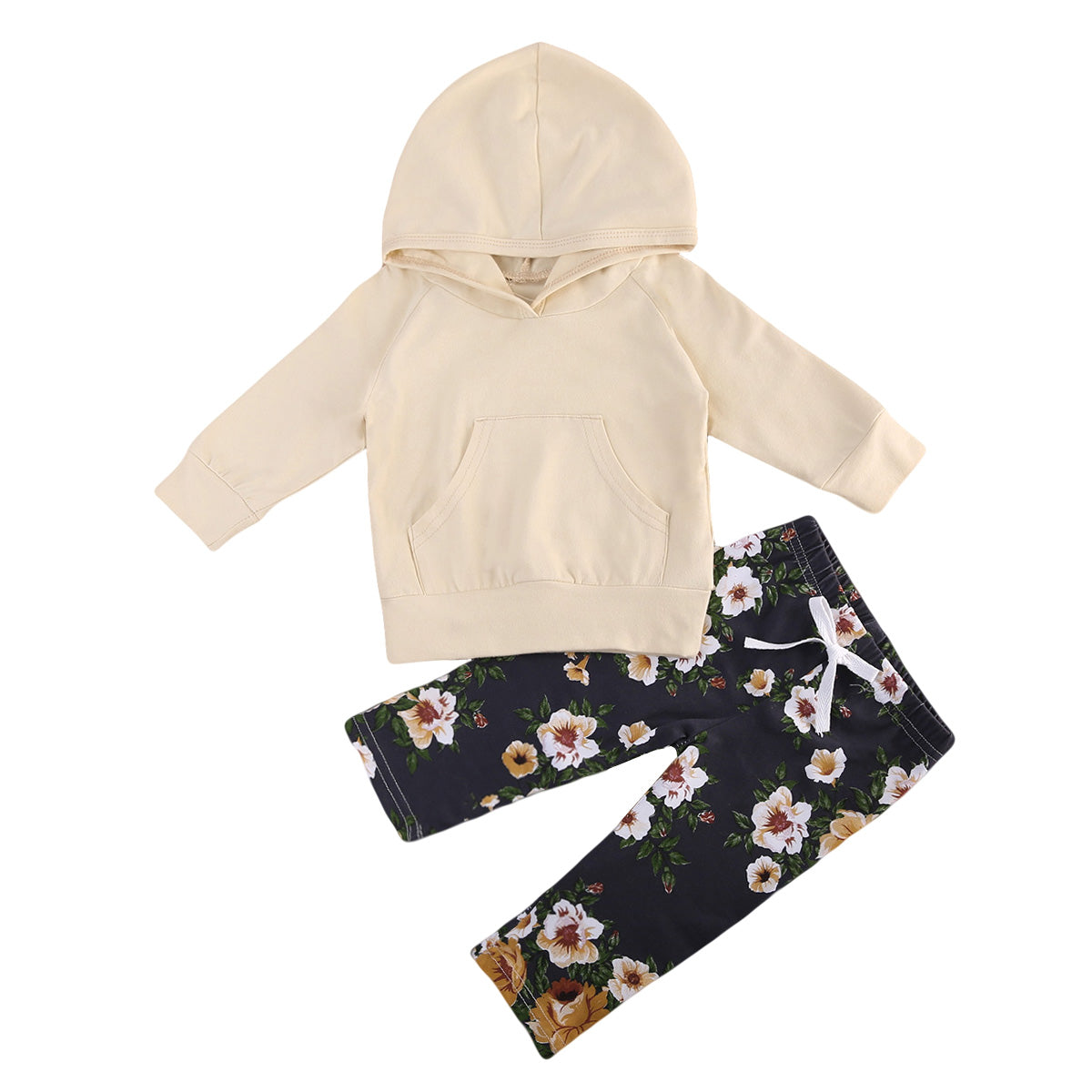 Baby Clothing 0-18M Toddler Baby Kids Girls Clothes Floral Hooded Tops+ Floral Long Pants Outfits Set-eosegal