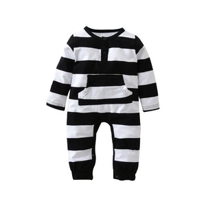 Fashion baby rompers baby boy clothes long sleeve striped printing newborn clothing infant jumpsuit-eosegal