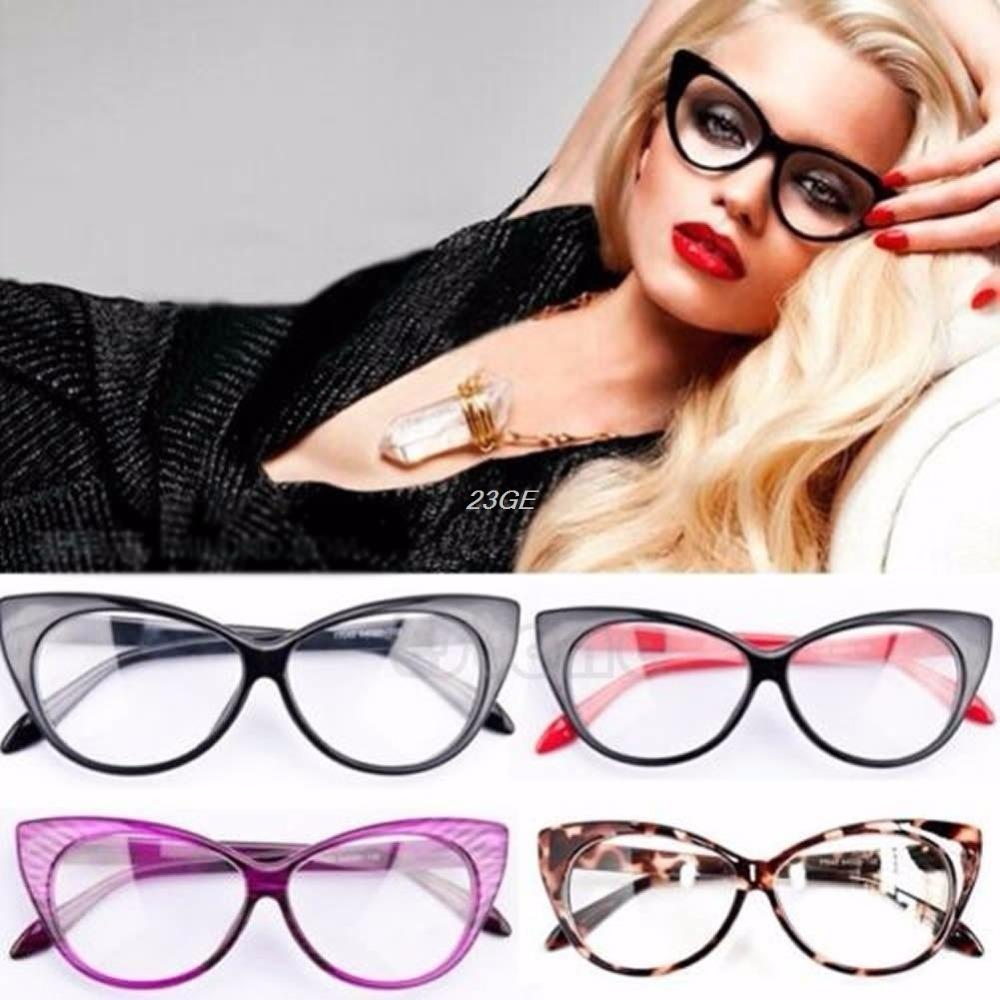 2017 Sexy Women Retro Eyeglasses Frame Fashion Cat Eye Clear Lens ladieseosegal-eosegal