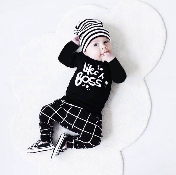 Autumn baby boy clothes infant black letter printed long sleeve t-shirt + pants newborn 2pcs suit baby clothing sets-eosegal
