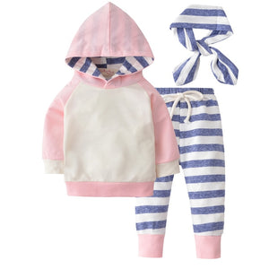 Cute Toddler Baby Boys Girls Autumn Clothes Sets Long Sleeve Hooded Sweatshirt Tops+Long Pants 3pcs Newborn Clothing Outfits-eosegal