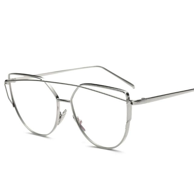 Gold Metal Frame Eyeglasses For Women Female Vintage Glasses Clear Lens Opticaleosegal-eosegal