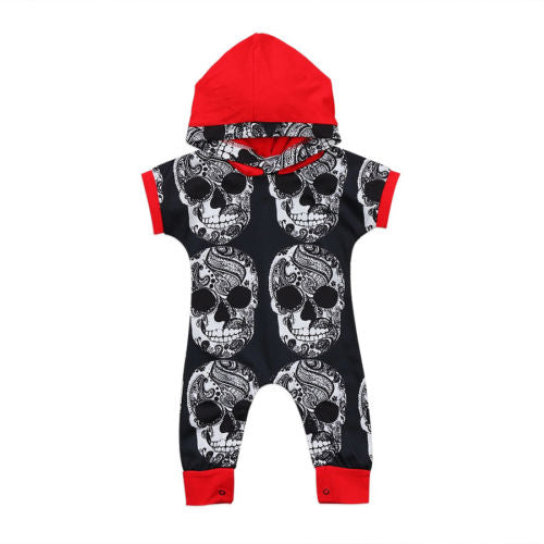Newborn Infant Baby Boys Cool Clothes One-pieces Skull head Hooded Romper Jumpsuit Harem Outfits-eosegal