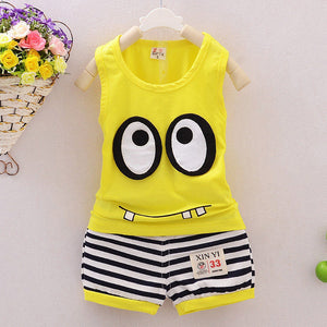 Newborn Baby Clothes 0-24M Infant Boys Girls Baby Sets Summer Sleeveless Cartoon Eye Tops +Striped Shorts Kids Clothing Suit D10-eosegal