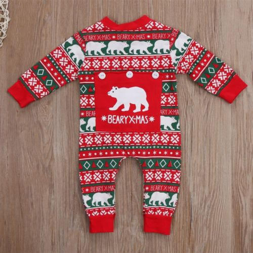 Newborn Baby Boy Girl Christmas Costume Print Baby Rompers Long Sleeve Winter Crawling Kids Clothes Romper Jumpsuit-eosegal