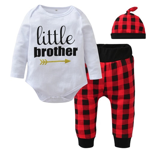 Autumn Baby Boy Clothing Set Newborn Cotton Clothes Baby Letter Romper Jumpsuit Long Plaid Pants Cap Infant Toddler Outfits-eosegal